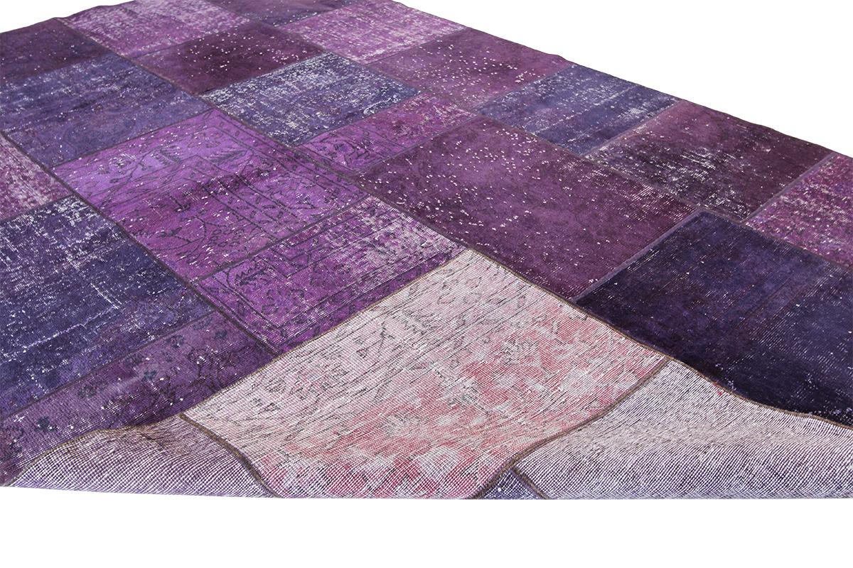 Alfombra patchwork morada 307 x 200 cm kilim age - Alfombra morada ...