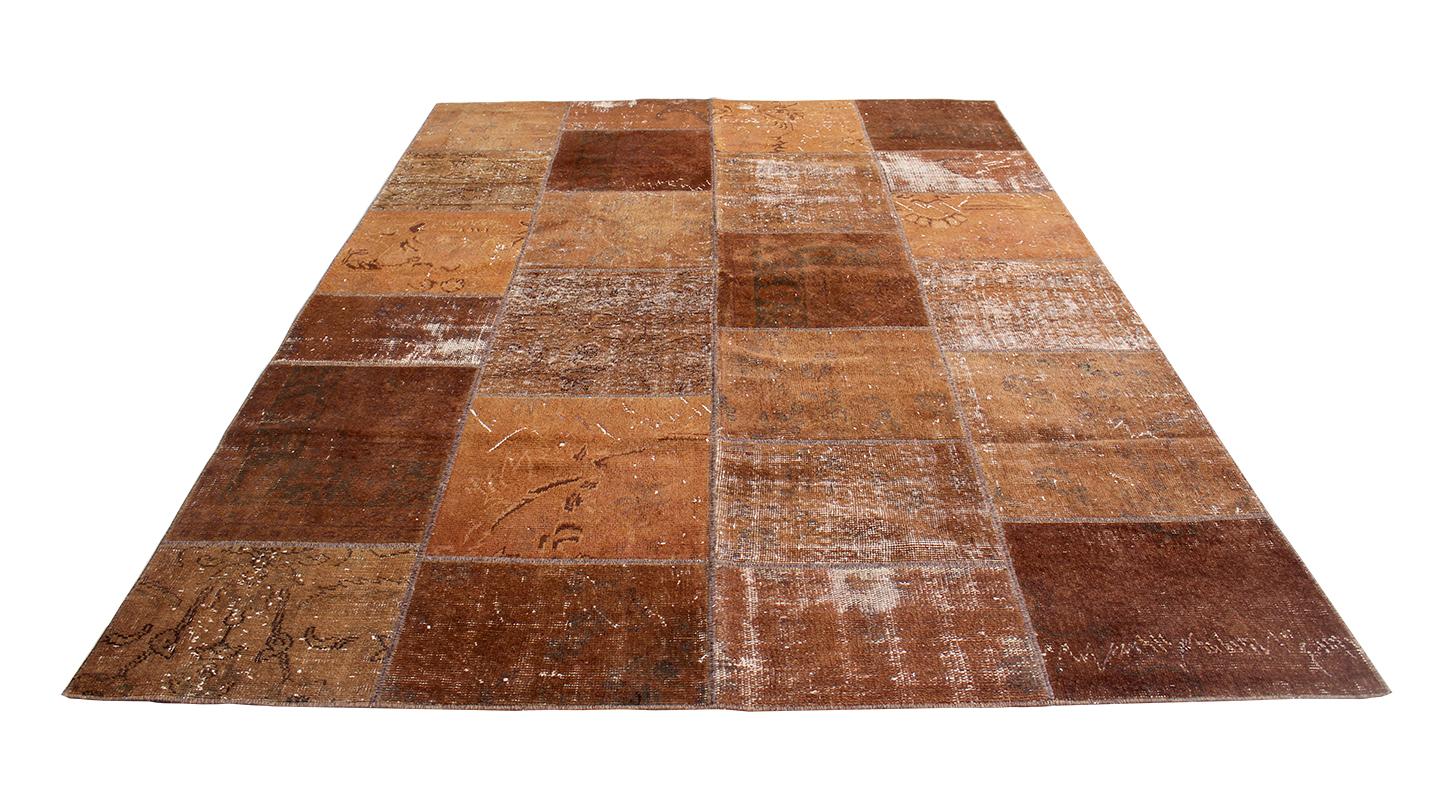 Alfombra patchwork marron 240 x 170 cm kilim age for Alfombra 180 x 240