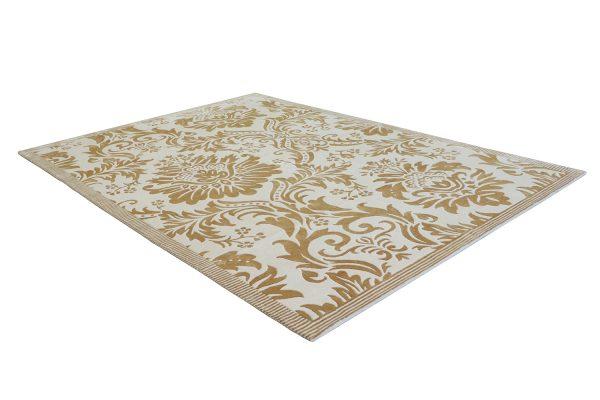 Alfombra turca de lana y seda de bambú flores doradas